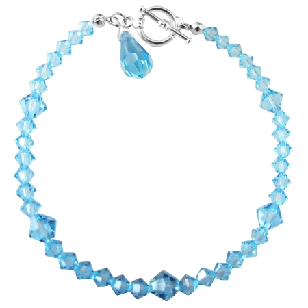 Aquamarine Blue Crystals Teardrop Affordable Bracelet Gift