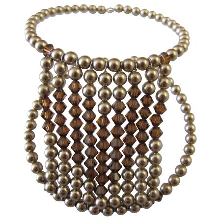 Heart Bracelet Cuff Bronze Pearls Smoked Topaz Crystals Heart Bracelet