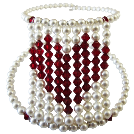 Passionate Love Express Jewelry Valentine Gift Give Your Heart White Pearl with Siam Red Crystal Heart At Center Cuff Bracelet