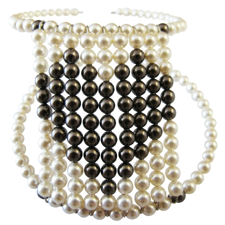 Ivory Pearls Chocolate Brown Pearls Heart Gift Cuff Flexible Bracelet