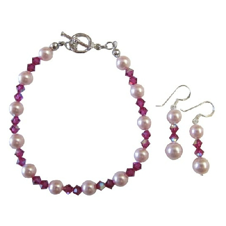 Rosaline Pearls Fushcia AB Coated Crystals Bracelet Earrings