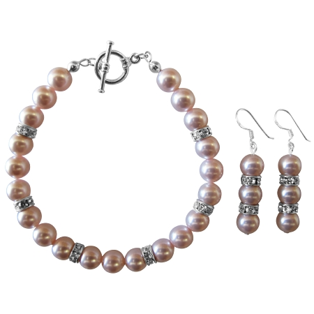 Wedding Bridal Rosaline Pink Pearls Bracelet & Earrings