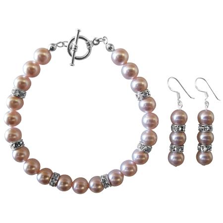 Wedding Bridal Rosaline Pink Pearls Bracelet & Earrings