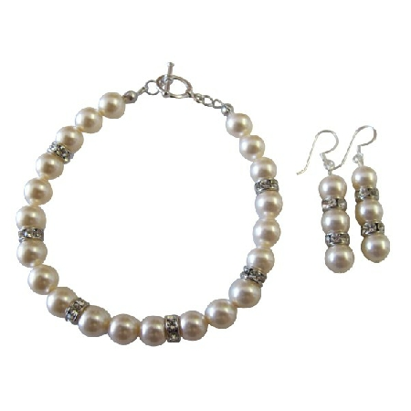 Bridal Bridesmaid Ivory Pearls Bracelet & Earrings Jewelry