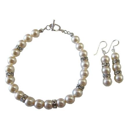 Bridal Bridesmaid Ivory Pearls Bracelet & Earrings Jewelry