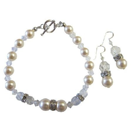 Clear Crystals w/ Ivory Pearls Bracelet & Earrings w/ Silver Rondells