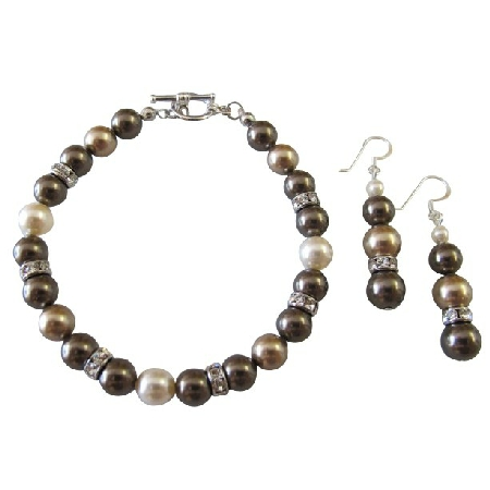 TriColor Bronze Brown & Ivory Pearls Bracelet Earrings Gift