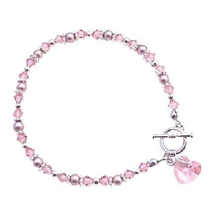 Rosaline Heart Pink Rosaline Crystal Valentine Bracelet Gift