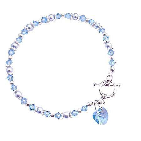 Aquamarine Cute Heart Charm Dangling Bracelet Valentine Gift Bracelet