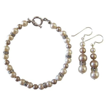 Wedding Bridal Bridesmaid Bracelet & Earrings Ivory & Champagne Pearls