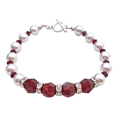 Gift Your Love w/ Passionate Siam Red Crystals White Pearls Bracelet
