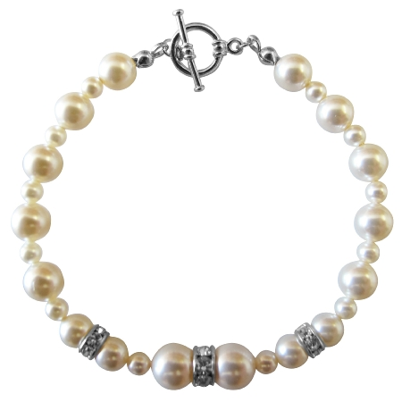 Handcrafted Bracelet Ivory Pearls w/ Silver Rondells Jewelry
