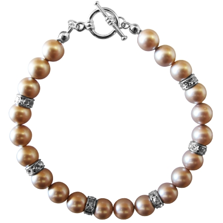 Customize Wedding Champagne Pearls Bracelet Spacer Silver Rondells