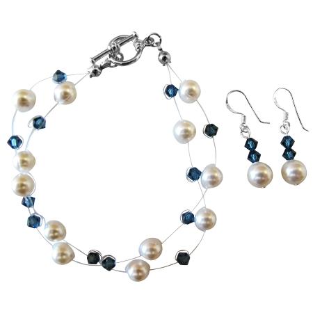 White Pearls Montana Crystals Double Stranded Bracelet & Earrings Set