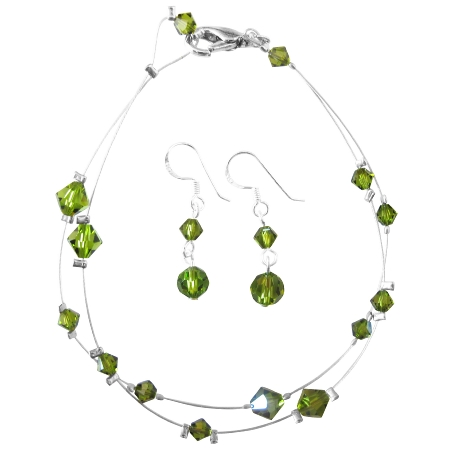 Olivine Crystals Wedding Jewelry Double stranded Wire Bracelet Earring