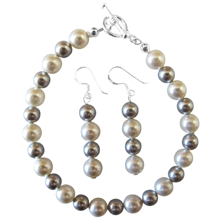 Prom Jewelry Fashionable Bracelet Earring White Pearl Lite Grey Pearls