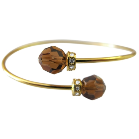 Wedding 18K Gold Plated Brown Crystals Smoked Topaz Bangle Bracelet