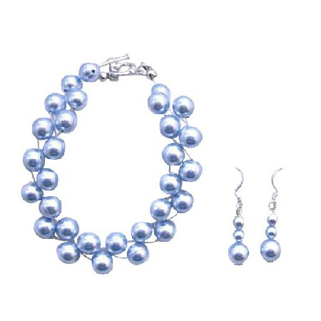 Double stranded Blue Pearls Interwoven Bracelet Handmade Jewelry Set