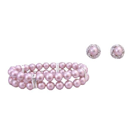 Wedding Jewelry Bracelet Stud Earrings Powder Rose 8mm Double Stranded