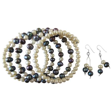 Cream Ivory Black Sea Freshwater Pearls 5 Strand Wire Bangle Bracelet