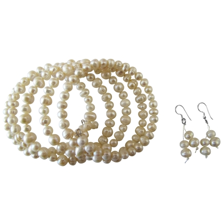 Five Stranded Freshwater Ivory Cream Pearls Bracelets & Earrings Set