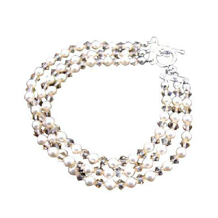 Golden Shadow Three Stranded Ivory Pearls Bridal Wedding Bracelet