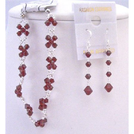 Siam Red Crystals Bracelet & Earrings Interwoven Japanese Glass Beads