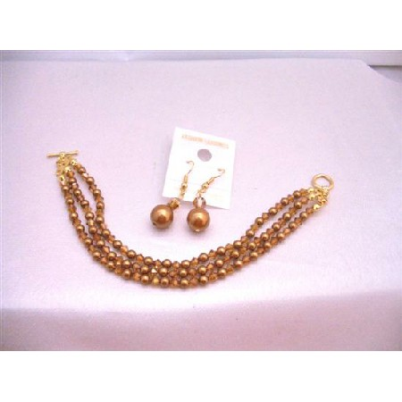 Copper Pearl & Crystals Three Stranded Gold Plated Bracelet