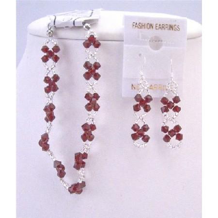 Japanese Glass Beads Interwoven Siam Red Crystal Bracelet & Earrings