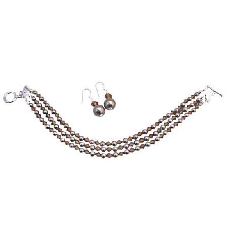 Brown Chocolate Pearl 3 Stranded Bracelet & Earrings Set
