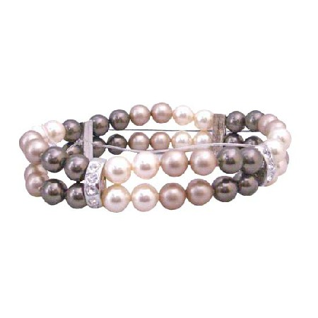 Double Stranded Stretchable Bracelet 8mm Ivory Brown Champagne Pearls