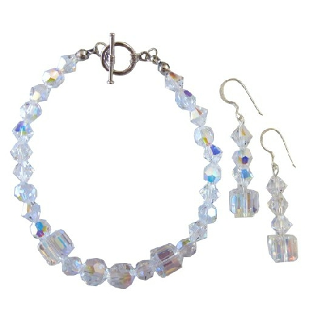 Bridal Bridesmaid AB Crystals Bracelet Earrings Set