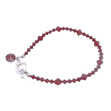 Valentine Faceted Siam Red Crystal Round Drop Down Bracelet