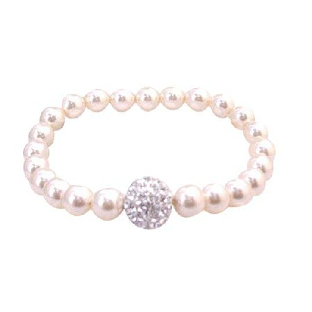 Bridal Bridesmaid Ivory Stretchable Bracelet 7mm Pearls Diamonte Ball