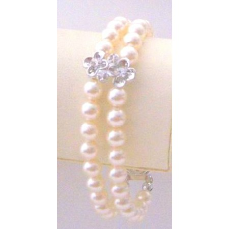 Wedding Double Stranded Ivory Pearls Silver Flower Rondells Bracelet