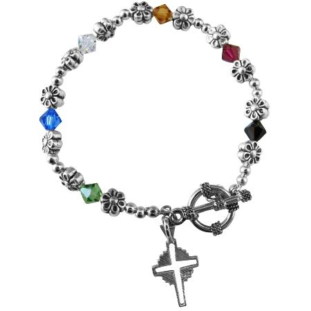Handmade Salvation Bracelet Austrian Crystals Silver Cross Charm