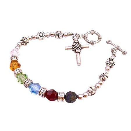 Sterling Silver 92.5 Cross Charm Salvation Austrian Crystals Bracelet