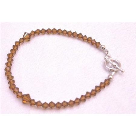 Brown Dress Smoked Topaz Crystals Bracelet Wedding Jewelry