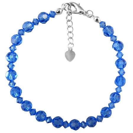 Sapphire Crystals Wedding Blue Dress Prom Jewelry Bracelet
