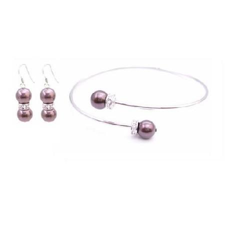 Burgundy Dress Burgundy Pearl Cuff Bracelet Earrings Jewelry