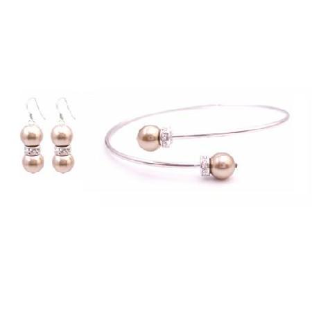 Prom Handmade Cuff Bracelet Bronze Pearl Bracelet & Earrings