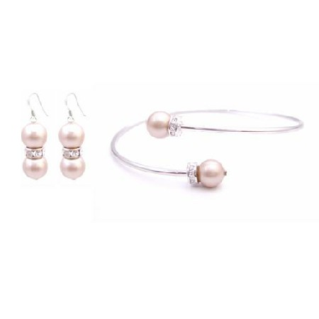 Bracelet & Sterling Silver Matching Earrings Champagne Pearl