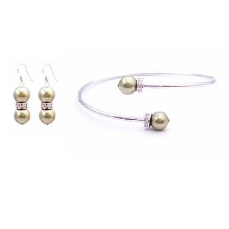 Wedding Olivine Dress Jewelry w/ Olivine Pearls & Earrings