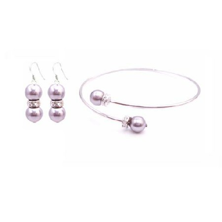 Bridesmaid Lavender Dress Lite Purple Pearl Bracelet Earring