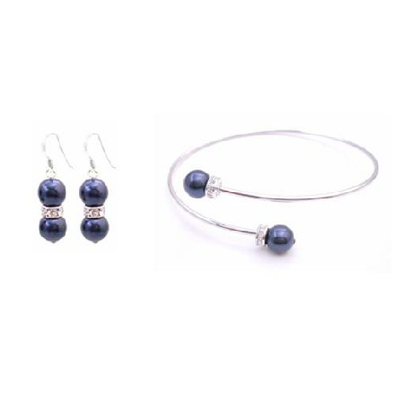 Cuff Bracelet with Sterling Silver Earrings Dark Blue Pearls Jewelry