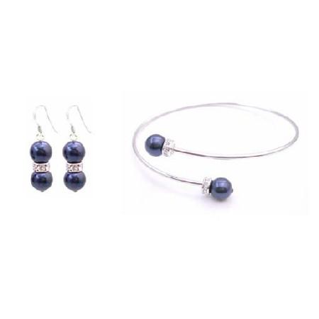 Cuff Bracelet with Sterling Silver Earrings Dark Blue Pearls Jewelry