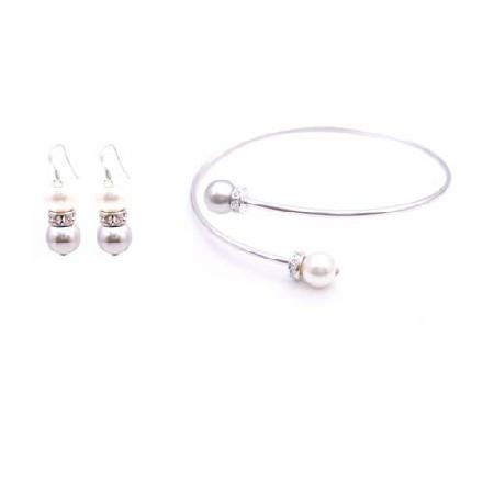 Bangle Cuff Wedding Bracelet Earrings Grey White Pearls Silver Rondell