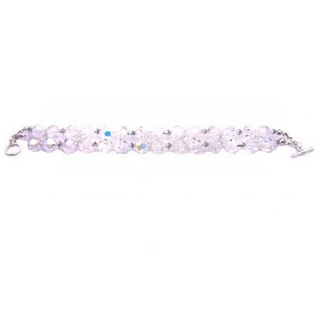 Comet Argent Crystal & AB Crystal Round Crystal Gift Bridal Bracelet