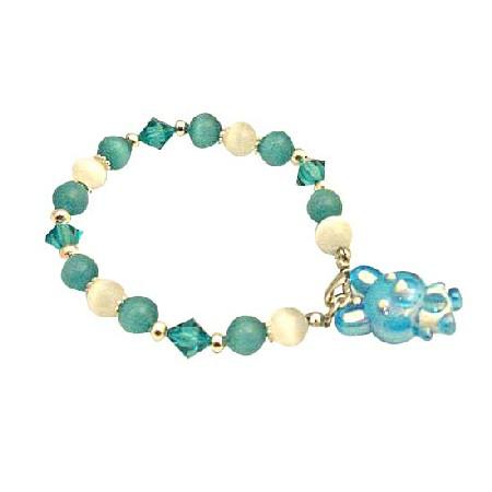 Easter Day Bracelet Cat Eye White Green Blue Zircon Austrian Crystal