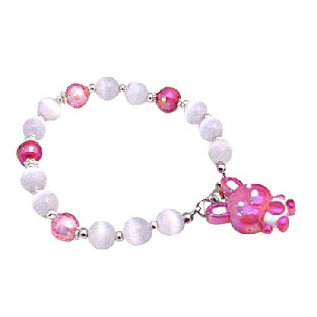 Easter Bunny Rabbit Charm Fuchsia Bunny Cute White Cat Eye Bracelet